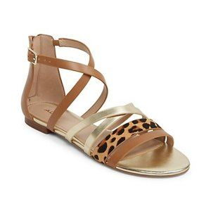 Aldo Gold Cognac and Leopard Strappy Sandals